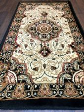 Modern/traditional Aprox 4x2 60cm x110cm New Rugs Woven Hand Carved Black/ivory